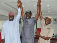 Gov Ambode of Lagos state visits APC Candidate, Mr. Obaseki and Gov. Adams Oshiomhole