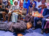 Nigerian President Muhammadu Buhari 'floors' Anthony Joshua